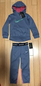Nike Girls Dri Fit Therma Pullover Hoodie Therma Jogger Outfit Set Ash Gray Sz 6