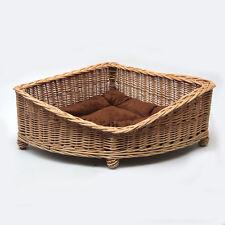Luxury Corner Wicker Pet Bed Basket Handcrafted