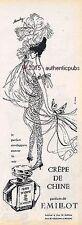 PUBLICITE PARFUM MILLOT CREPE DE CHINE PAPILLON SOIE SIGNE MOUCHY DE 1959 AD PUB