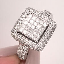 1.00ct Princess & Round Brilliant Cut Diamond Right-Hand Ring in 14k White Gold