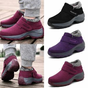 Women Winter Plush Thick Shoes Rubber Sole Non-slip Sticker Snap Cotton Shoes