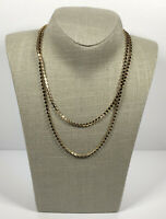 Long Vintage Necklace Gold Tone & Faceted Ruby Glass Bead Flapper Style Costume