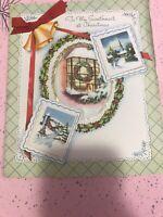 Vintage Large SWEETHEART CHRISTMAS CARD MCM Padded Bells Window Ribbon