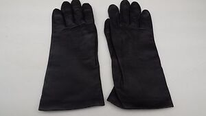 **FOWNES LADIES BLACK LEATHER  GLOVES 100% SILK  LINING SIZE 6.5