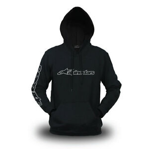 Genuine Official Alpinestars Logo Superbike Extreme Racing Black Hooded Hoodie