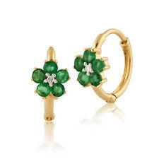 gemondo 9ct ORO GIALLO 0.60ct CT floreale smeraldo e diamante Orecchini a