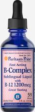 Vitamin B Complex Sublingual Fast Absorb Liquid & B-12 1200 Mcgs