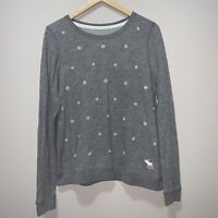 Abercrombie & Fitch Womens Sweatshirt Gray Embellished Pearl Beaded Crew Neck M