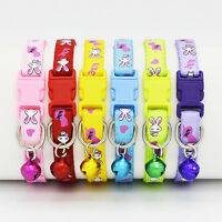 Adjustable Fabric Nylon Dog Puppy Pet Collar w/ Buckle and Bell for Lead Safety#