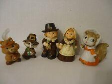 Thanksgiving Figurines Pilgrims Man & Woman, Indian, Squirrel Resin/Porcelain