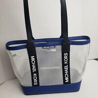 MICHAEL KORS SPORT DANIKA LARGE TOTE  Mesh Black Blue Fluorescent Shoulder Bag