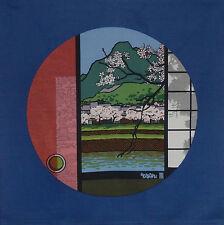 Furoshiki Japanese Fabric Clifton Karhu 'Kamogawa River Kyoto' Motif Cotton 90cm