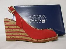 Sperry Top Sider Size 9 M Mabel Red Canvas Open Toe Wedges Womens Shoes