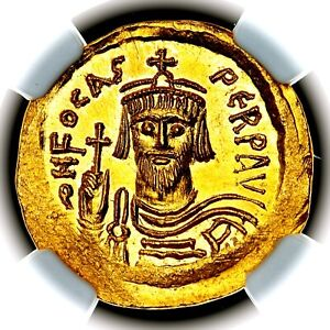 602-610 AD Phocas Byzantine Empire Constantinople Gold AV Solidus NGC MS 5/5 4/5