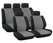 XtremeAuto® 9 Piece Grey / Black Racing Sports Seat Covers Soft Fabric FULL SET