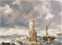 """oil painting handpainted on canvas """"  Fantastic harbor with lighthouse'"""""""