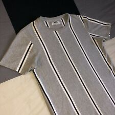 TOPMAN Men's Grey Striped T-shirt Size S FIT