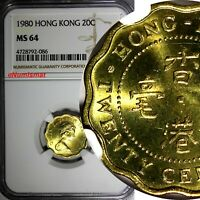 Hong Kong Elizabeth II 1980 20 Cents NGC MS64 1 GRADED HIGHEST BY NGC KM# 36
