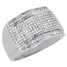 10K White Gold Diamond Pinky Ring Round Cut Pave Set Mens Domed Band 0.51 Ct.