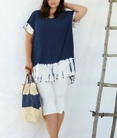 Womens Lagenlook Navy Cotton Top Plus Size 16 18 20 22 24 26 28 30 32 34 -  Z1