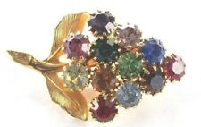Color Crystal Rhinestones - Gold Tone Brooch Pin - Grape Cluster - Multi