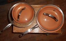 """4-lot gotham steel 2-10""""glass lids and 1-10""""skillet and 1-81/2""""skillet nice used"""