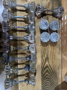 LOT OF 22 KNOBS GLASS CRYSTAL ANTIQUE ART DECO DOOR KNOBS