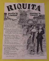Riquita paroles de E. Dumont Musique Benech impression affiche Chanson moulin