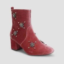 Who What Wear Boots Women's PINK ALESSIA Embellished Velvet Block Heel Zipper