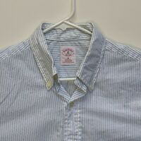 Brooks Brothers Mens Striped Shirt White Medium