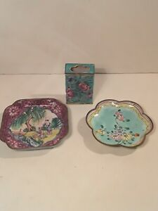 Antique Chinese Canton Enamel Estate Lot of 2 Plates and Matchbox Cover