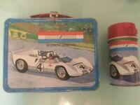 1967 Vintage AUTO RACE GAME KIT metal LUNCH BOX and THERMOS w/ RED lid