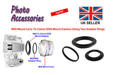 M39 Lens Mount To M42 Camera Mount + M42 to Canon EOS Mount Adapter Ring