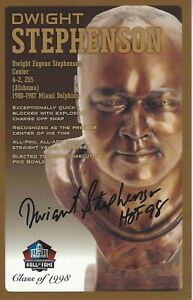 Dwight Stephenson Miami Dolphins  Football Hall Of Fame Autographed Bust Card