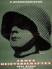 Publicité exposition de l'armée suisse soldat suisse casque Poster Print lv855