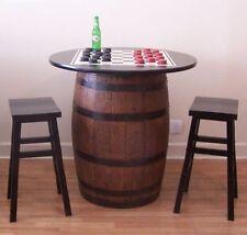 "Whiskey Barrel c/ 36"" Black TableTop-Checker Board-Checkers 2 Bar Stools"