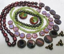 Burgundy, Purples and olive, HONEY BEE Miracle Mood Beads+Pearls