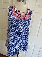 Market & Spruce Women's Blue/Peach Embroidered Sleeveless Blouse Size M
