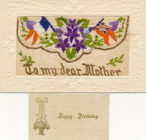"""WW1 SILK EMBROIDED POSTCARD """"TO MY DEAR MOTHER"""" + INSERT FLAGS"""