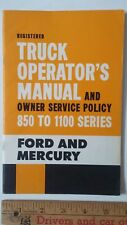 1962 FORD & MERCURY Trucks/850-1100 - Original Owner's Manual  Guide