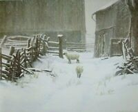 Vintage Art Robert Bateman In For The Evening Sheep Winter Lamb Farm Barn Snow