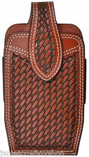 3D Leather Western Basketweave 3 1/2X6 3/4 Inch Smart Phones Magnatic