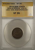 1863 NY-Albany Benjamin & Herrick Civil War Storecard Token 10A-4A ANACS VF-35