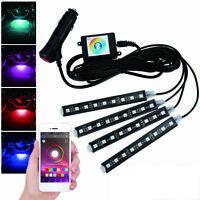 4x RGB 9LED Car Interior Atmosphere Light Strip Phone bluetooth APP Control