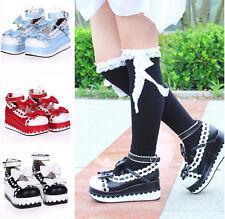 Sweet Womens Bowknot creepers Lolita platform Cosplay Princess High Wedge Shoes