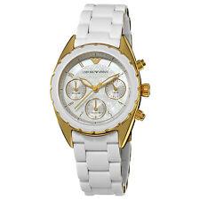 Emporio Armani Women's Sport MOP Dial White Strap Swiss Quartz Watch AR5945