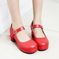 Womens Mary Janes Round Toe Buckle Block Heels Platform Summer OF Pumps Shoes