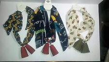 BMC 3pc Womens Roses Design Fashion Tassel Short Skinny Scarf Bundle Set (Pack o