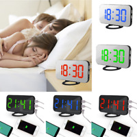 LED Digital Snooze Alarm Clock With USB Port For Phone Charger Touch-Activited