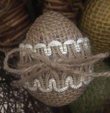 Primitive Handmade Easter Eggs Spring Burlap Lace Bowl Filler Shabby Chic S/3